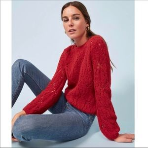 Reformation Red Jessie Knit Pullover Sweater Top
